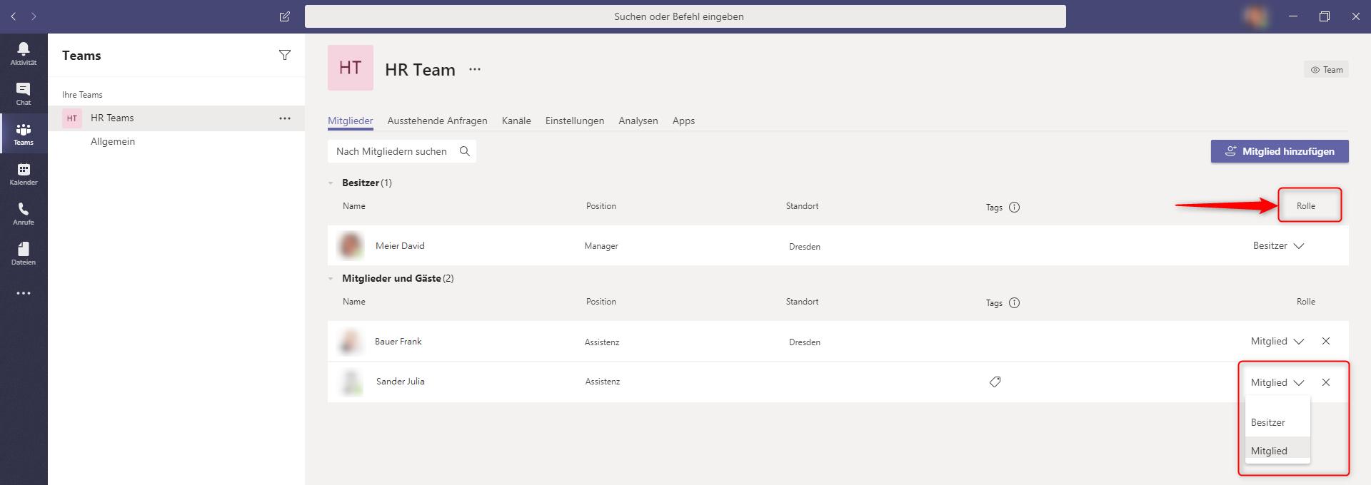Microsoft Teams - Benutzerverwaltung - Rollen ändern